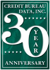 Credit Bureau Data, Inc. 30 year anniversary seal